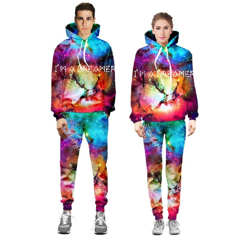 Hommes et femmes 3D imprimé étoiles ciel Hip Hop survêtements à manches longues sweat pantalon 2 pièces ensemble espace Galaxy mode - 2