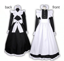 S XXL Sexy Adult Men Woman Night French Maid Servant Costume Black&White French Maid Costume Halloween Party Long Dress