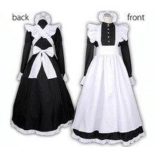 S XXL sexy adulto homem mulher noite francês empregada doméstica servo traje preto & branco francês maid traje festa de halloween vestido longo