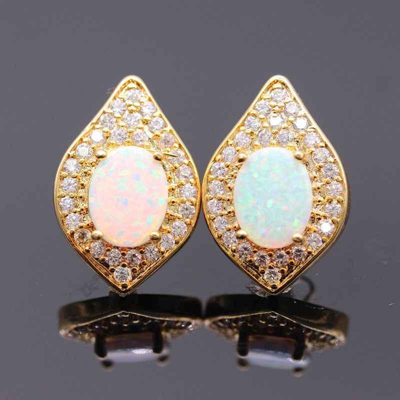 JINYAO แฟชั่นฤดูร้อนเครื่องประดับชุดทองสีขาวไฟโอปอลและเพทายจี้ต่างหูแหวนชุดเครื่องประดับสำหรับผู้หญิง