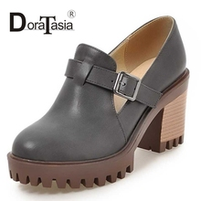 DoraTasia Big Size 33-43 Women Retro Chunky High Heels Spring Autumn Shoes Round Toe Buckle Platform School Girl Pumps