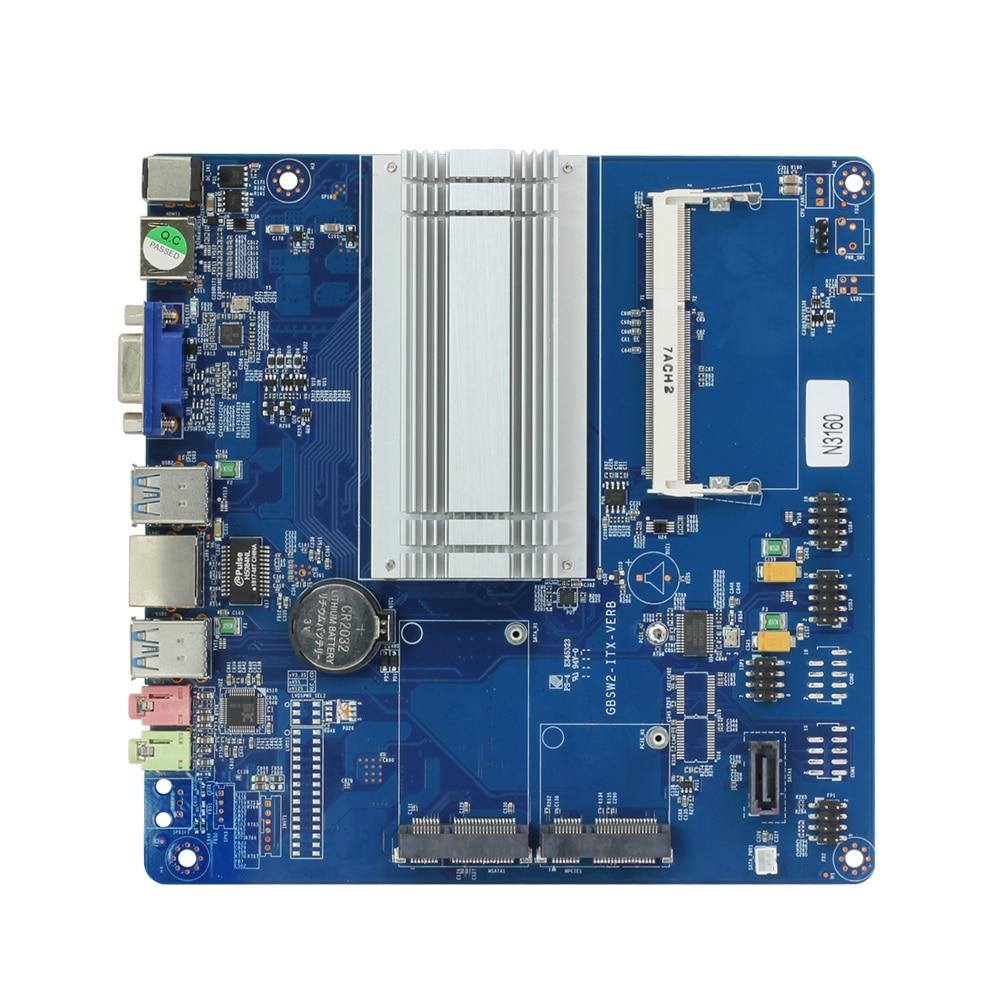 цена на Mini ITX PC Motherboard with embeded Board Intel Celeron N3160 processors HDMI VGA Mini-PICE WiFi 6*USB Gigabit LAN 170x170mm