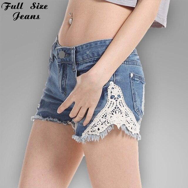 Plus Size Floral Lace Jeans Shorts Sexy Wide Leg Raw Edge Hem Oversized Jeans Shorts 40 42 7Xl 3Xl 4Xl 100Kg 24 22
