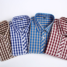 Casual mens flannel 100% cotton plaid long-sleeved shirt stylish spring and autumn slim fit High quality brand men