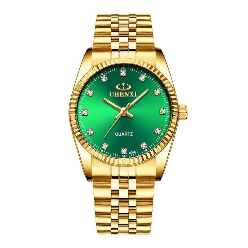 CHENXI Роскошные парные часы золотые модные часы для влюбленных из нержавеющей стали Кварцевые наручные часы для женщин и мужчин аналоговые наручные часы - Цвет: Men Green Dial