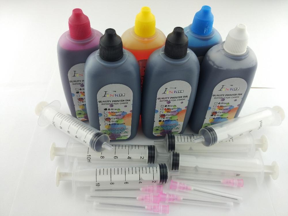 Prix pour FINK 6x100 ML Qualité Pigment et Colorant D'encre Pour Tous Les Canon 6 couleurs imprimantes de bureau Pigment PGBK et Colorant BK C M Y GY Encre
