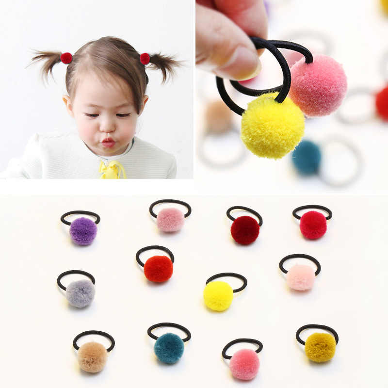 New 2pcs pom pom glittery snap hair clip 5cm wool ball thick elastic rubber hair bands ties kids girls hair accessories gift