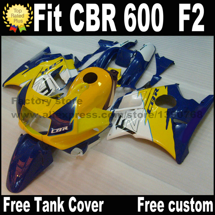 Plastic fairing kit for HONDA 91 92 93 94 CBR 600 F2 yellow blue  CBR600 1991 1992 1993 1994 fairings AS9