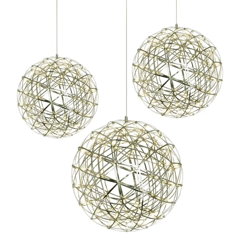Modern Stainless Steel Creative Circle Firework Pendant Lamp LED Ball Spark Personality Living room Firework Hang lampModern Stainless Steel Creative Circle Firework Pendant Lamp LED Ball Spark Personality Living room Firework Hang lamp