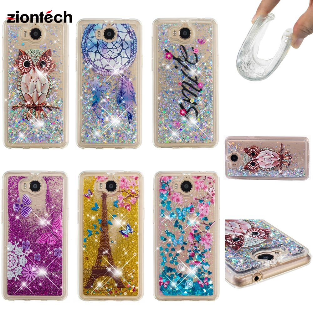 Soaptree Phone Case For <font><b>Huawei</b></font> <font><b>Y6</b></font> <font><b>2017</b></font> Y5 <font><b>2017</b></font> Honor 6 Play Y5 III Y5 3 Nova Young 5.0 inch Glitter Liquid Soft TPU Cover image