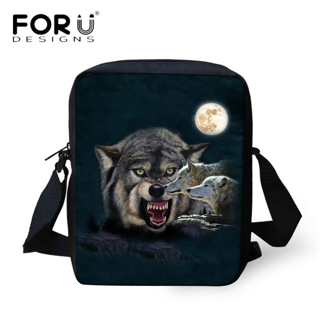 ... newest collection e60d3 7e79d FORUDESIGNS 2018 Teen Boys Casual Messenger  Bags Cool Animal Wolf 3D Printing ... 5bab3cef6107e