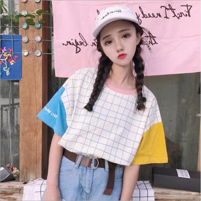 Harajuku סגנון נשים אביב קיץ אופנה הדפסת חולצת טי שרוול קצר צוואר O כותנה נשים חולצות מקרית Loose פאטאל החולצה