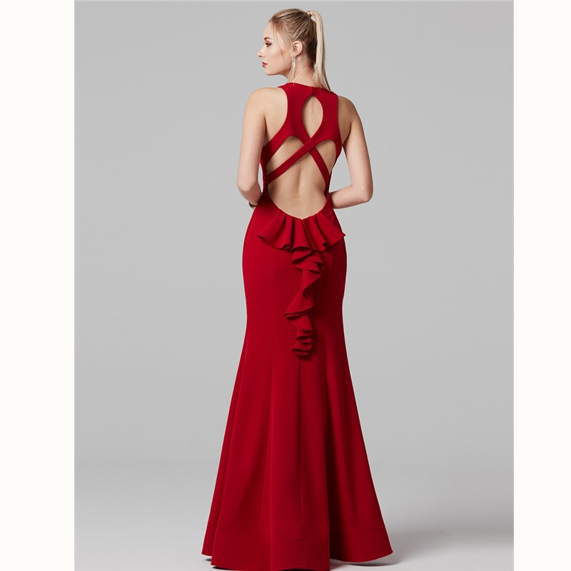TS Couture Mermaid / Trumpet Jewel Neck Floor Length Spandex Formal Graduation Dresses with Ruf