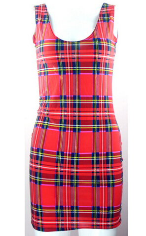 EAST KNITTING 2016 Women summer dress X 195 font b Tartan b font Red print women