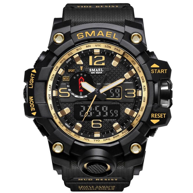 Digital-Watch Men Gold Sports Watches 2017 Fashion LED Quartz Outdoor Military Waterproof S-SHOCK Men's Electronic Wristwatches
