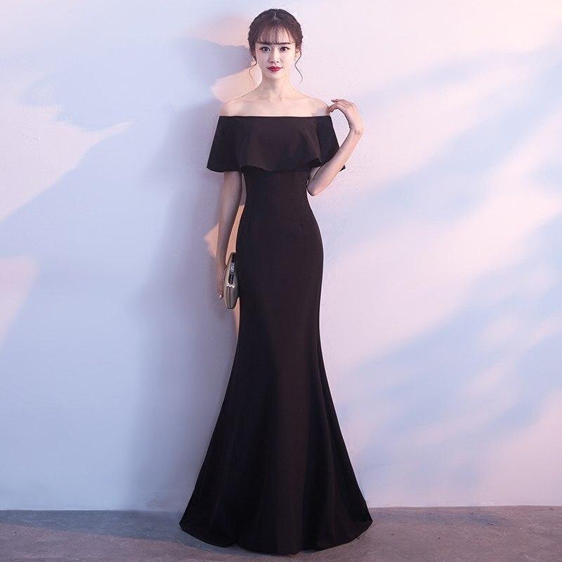 Elegant Black Mermaid Long Prom DressesFloor Length Off The Shoulder Elastic Satin Cheap Evening Gown Custom Made Robe De Bal