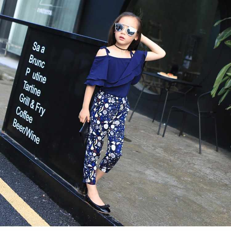 a8894034335069 ... Girls Set Clothes Kids Fashion Top Pant Two Piece Children Summer Suit  Girls Boutique Outfits 7 ...