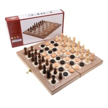 New Backgammon 3 in 1 International Chess Set Child Gift Folding Wooden Board Travel Games Table Pieces Entertainment