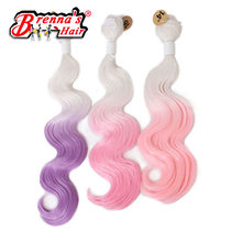 "Eunice Ombre pink/blue/brown/purple/gray Body Wave Weft Hair bundles Weaving 18"" 20"" 22"" natural soft Synthetic Hair Extensions(China)"