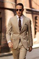 2018 Lasted Men Suit Khaki Slim Fit Formal Tuxedo Groom Men Wedding Best Men Suit Smart Casual 2 Pieces(Jacket+Pant)