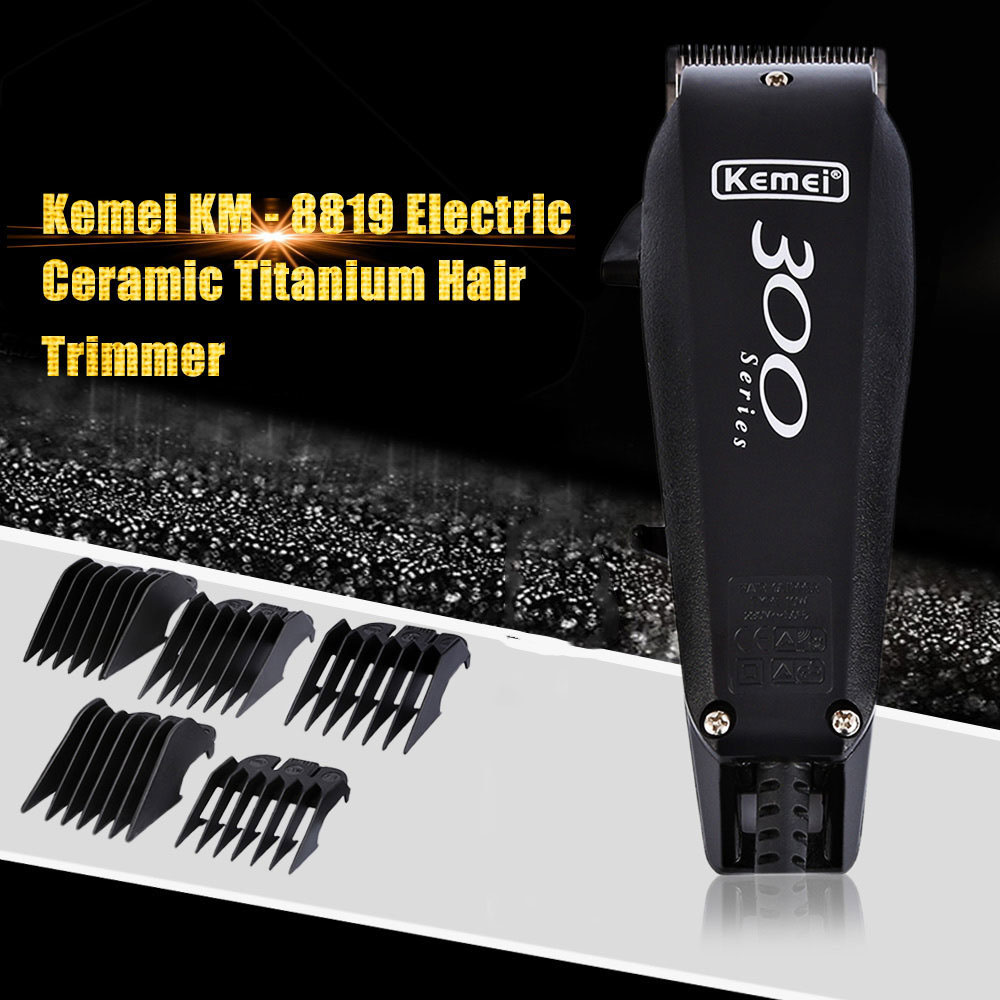 Kemei KM - 8819 EU PLUG 220V-240V Hair Care Styling Machine Electric Hair Clipper Ceramic Titanium Hair Trimmer for Men rechargeable hair clipper with accessories set 220 240v ac