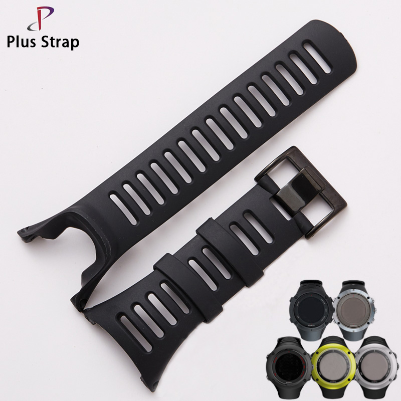 Plus Strap Silver & Black Buckle Silicone Watch Strap Watchband for Ambit suunto 1 2 3 Replacement Sport Wristband Waterproof soft silicone watch band rubber watch strap waterproof watchband for suunto ambit 1 2 3 watch