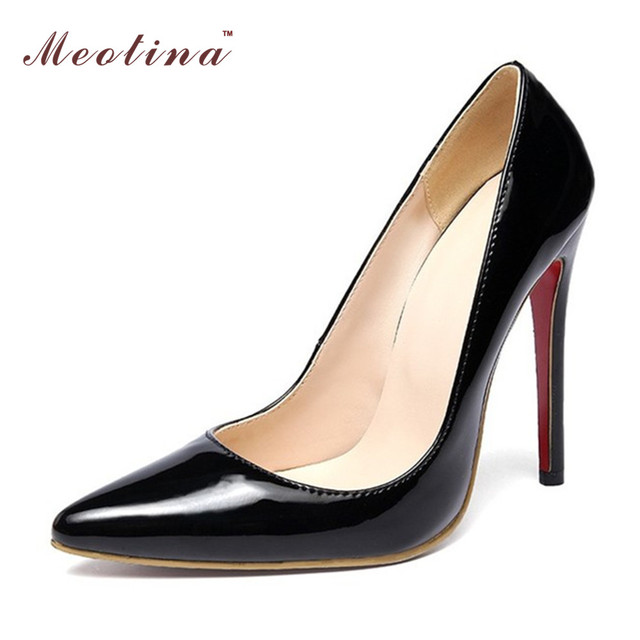 Meotina Shoes Women High Heels Ladies Party Pumps Shoes Extreme High Heels Party Pumps Black Apricot Large Size 11 12 45 46
