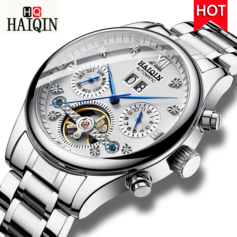 HAIQIN Men s Watches New 2019 Luxury Gold Business Machinery Leisure Automatic Waterproof Stainless Steel Watch