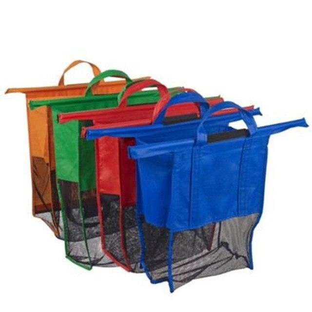 4 Pack Tas Ramah lingkungan Reusable Tas Belanjaan Sempurna Untuk Belanja Troli Gerobak Dilepas Lipat Reusable Shopping Bag