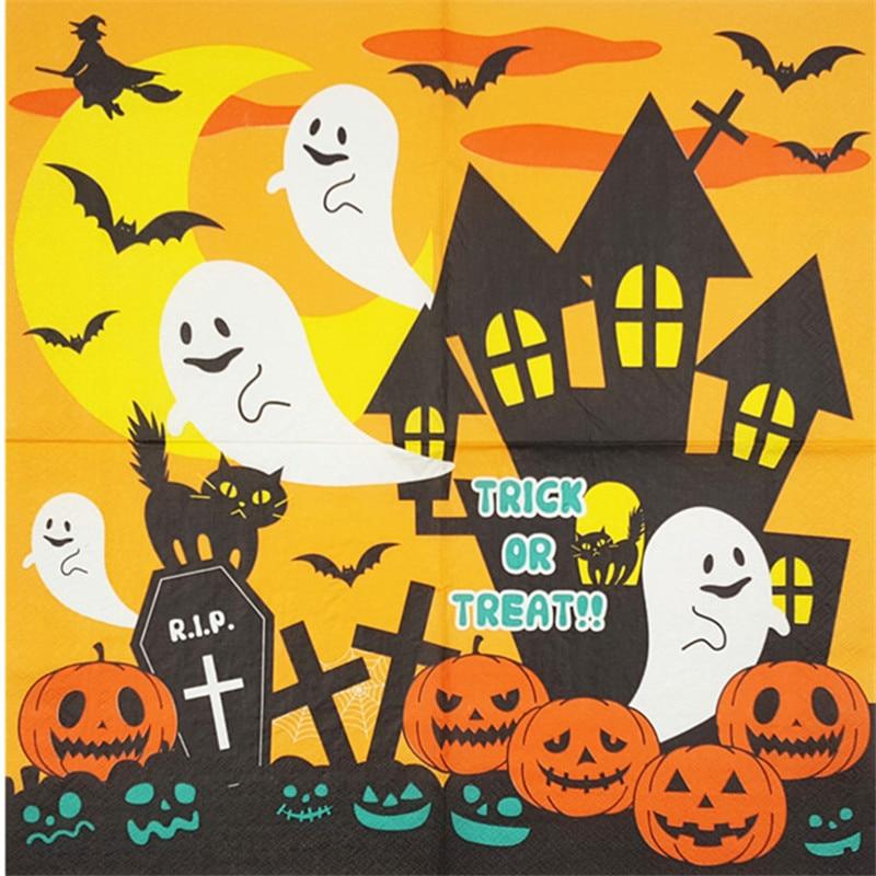 2 78 20 Serviette Papier Tissu Mignon Dessin Animé Halloween Sorcière Citrouille Fantômes Chauves Souris Chats Décoration Mouchoir Decoupage Fête