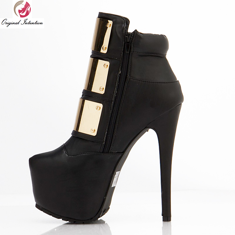 Original Intention Stylish Women Ankle Boots Platform Round Toe Spike Heels Boots Black Shoes Woman Plus Size 4-15 2015 spike boots platform black boots on the heels red bottom ankle boots for women plus size 35 42 3
