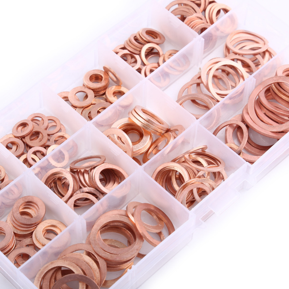 280pcs M5-M20 12 Sizes Professional Assorted Copper Washer Gasket Set Flat Ring Seal Assortment Kit with Case creativity street wiggle eyes assortment assorted sizes black 100 pack