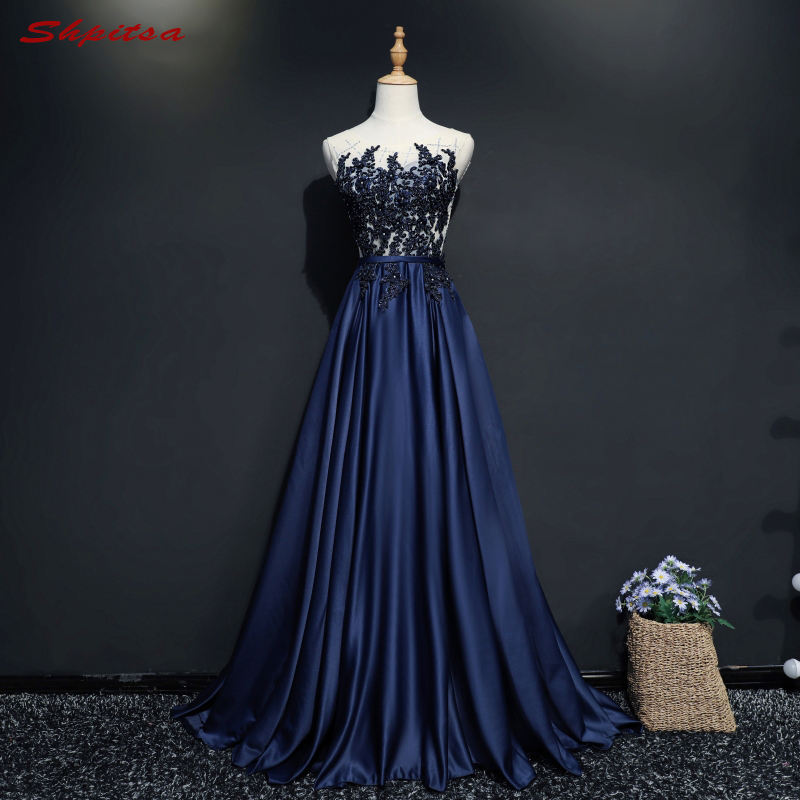 Navy Blue Long Evening Dresses Party Women A Line Custom Made Beaded ...