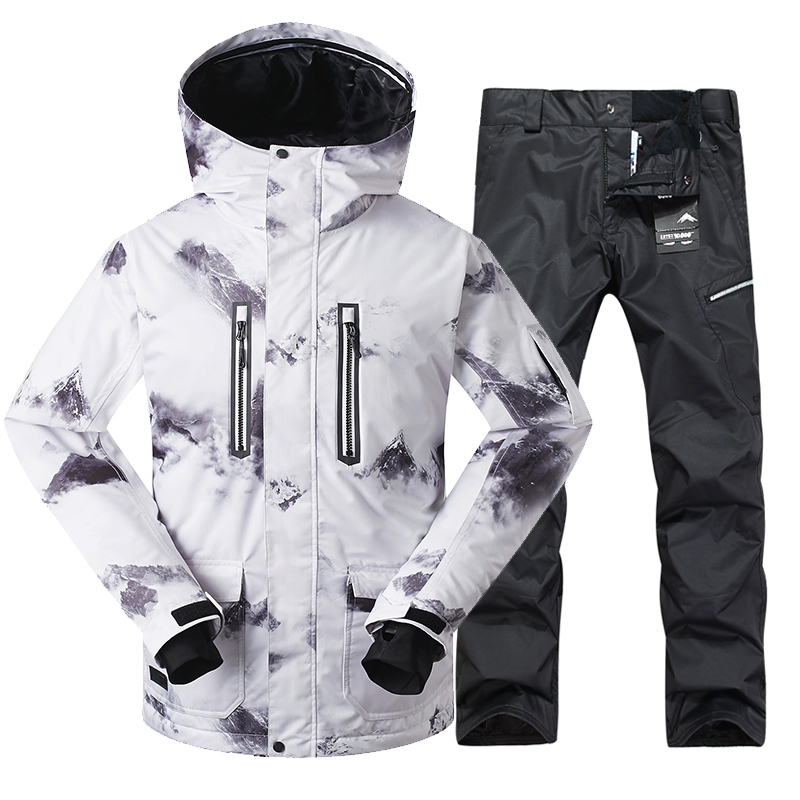 GSOU SNOW New Men's Ski Suit Outdoor Winter Thickened Windproof Warm Waterproof White Ski Jacket+Ski Pant Size M-XL