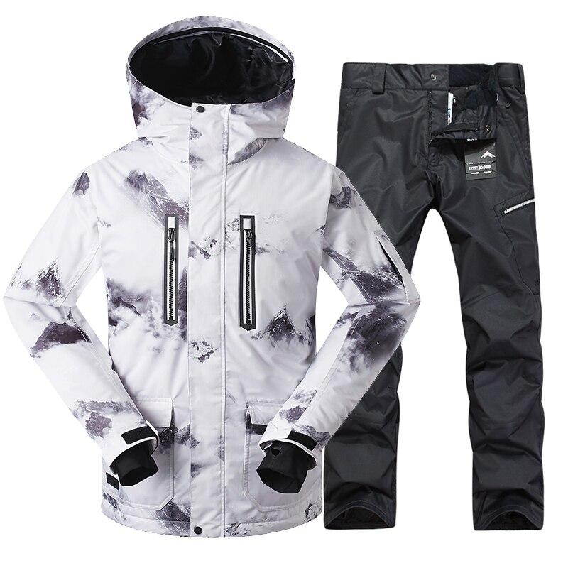 GSOU SNOW New hommes combinaison de Ski en plein air hiver épaissi coupe-vent chaud imperméable blanc veste de Ski + pantalon de Ski taille M-XL