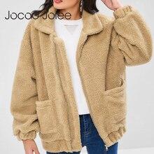 Jocoo Jolee Plus Size Fleece Faux Shearling Fur Jacket Coat Women Winter Plush Warm Thick Teddy Coat Female Casual Overcoat недорого