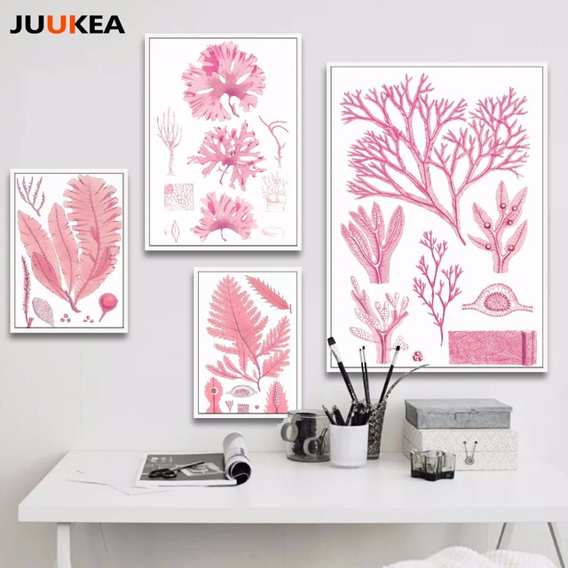 Modern Pink Color Bloom Plant Canvas Art Print Painting Poster ...
