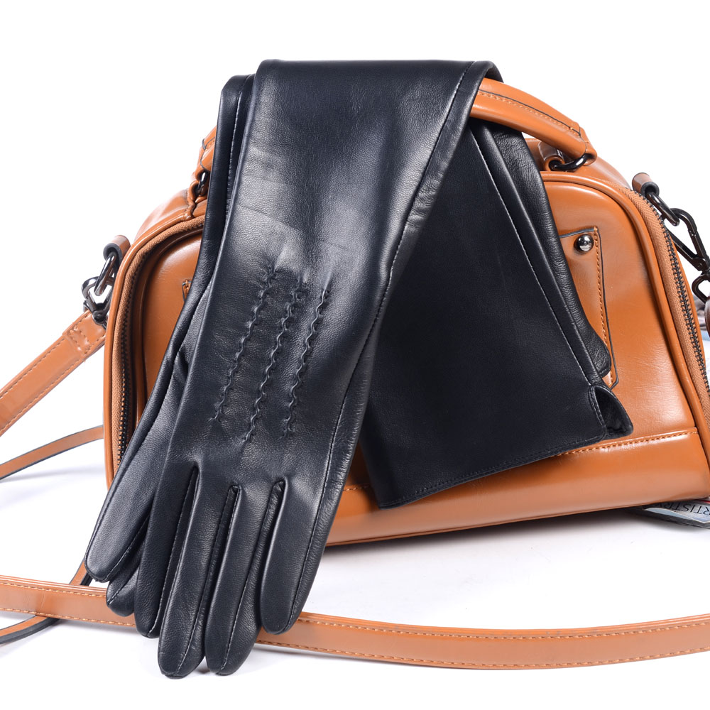 30cm-80cm Women's Ladies Real Leather Double Sides Leather Unlined Overlength Party Evening Gloves Long Gloves Customizable