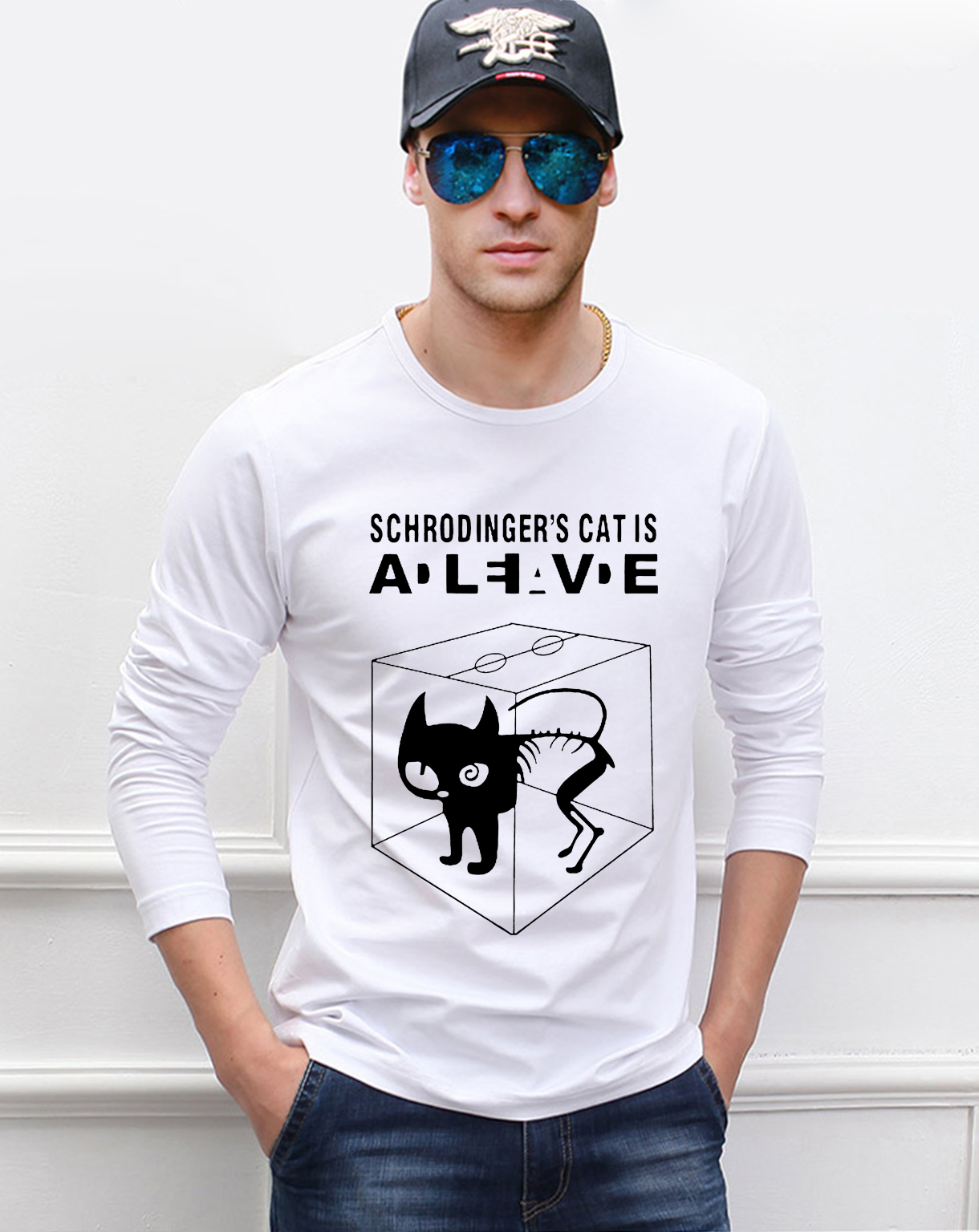 The Big Bang Theory Schrodinger's Cat men's long sleeve o-neck t-shirts 2019 new spring 100% cotton casual cartoon man t shirt