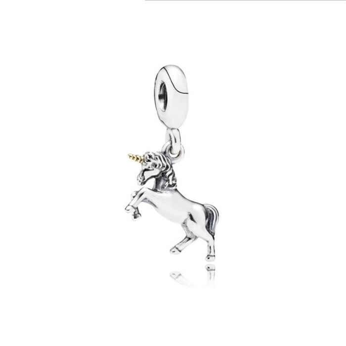 Btuamb חדש אופנה נוטף שמן Unicorn דבורת חמניות תליוני חרוזים Fit פנדורה צמידי שרשראות לנשים המפלגה DIY תכשיטים