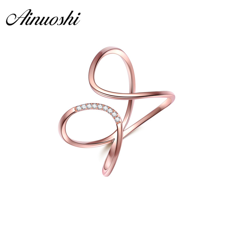 AINUOSHI 18k Solid Rose Gold Band Wedding Ring Real Diamond 0.027ct Aneis Feminino for Women Engagement Ring Annivesary Size 6
