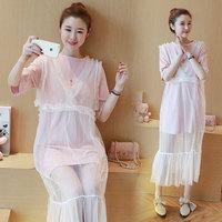 353 estate coreana maternità abiti vestiti gravidanza indossare due pezzi del merletto dress abbigliamento per le donne incinte premama top