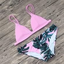 Bikini 2018 Baddräkt Polychromatic Leaf Color Bikini Beach Baddräkt Kvinnor Sommar Färgrik Massiv Bad Delad Kroppsdrag