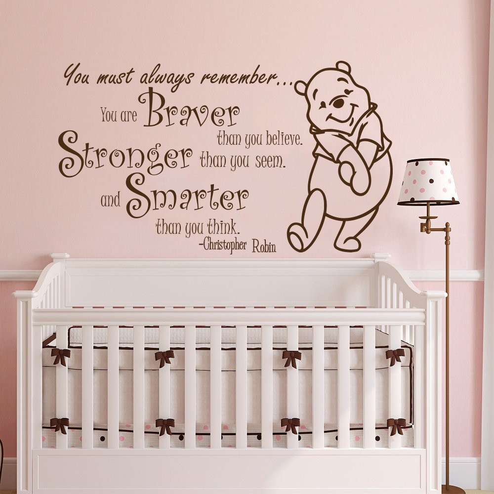 Amazing Winnie The Pooh Quote Wall Sticker Vinyl Sticker Decals Quotes Braver  Stronger Smarter Wall Decor Nursery Baby Room In Wall Stickers From Home U0026  Garden On ... Part 30