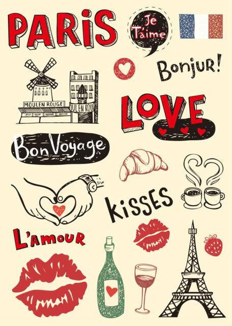 Love Bonjur Paris Tower Lip Kisses Car Stickers For