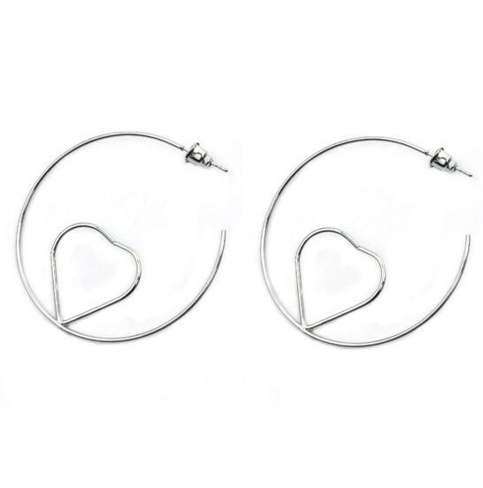 Fashion Hollow Heart Shape femme acier inoxydable Dangle Hoop Earring Stud 1 Pair