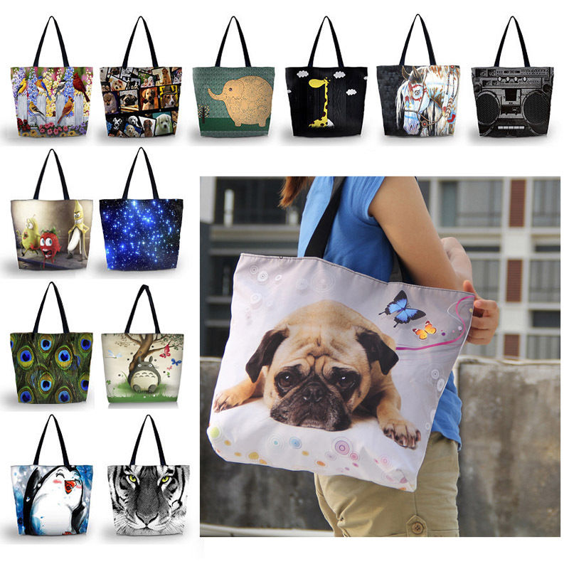 Waterproof Eco Reusable Women's Shopping Bag Tote Travel Shoulder Girl's Handbag Reusable Tote Bags with Zipper Closure Pocket