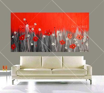 Hand-painted Knife Red Oil Painting on Canvas Handmade Full-bloom Red Flower Bonsai Landscape Wall Artwork for Room Pictures
