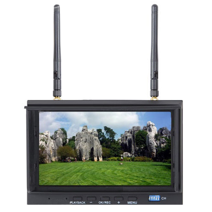 Skyzone RC700D SKY-700D 7 inch 720 x 576 5.8GHz 32CH FPV Monitor & Diversity Receiver with DVR Recording sky 708 40ch 7 monitor hdmi input and diversity rx dvr ppm function