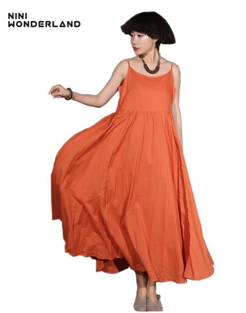 4fd1b5261d63 NINI WONDERLAND Summer Sleeveless Bohemian slip dresses Women solid color  cotton linen maxi dress Casual large